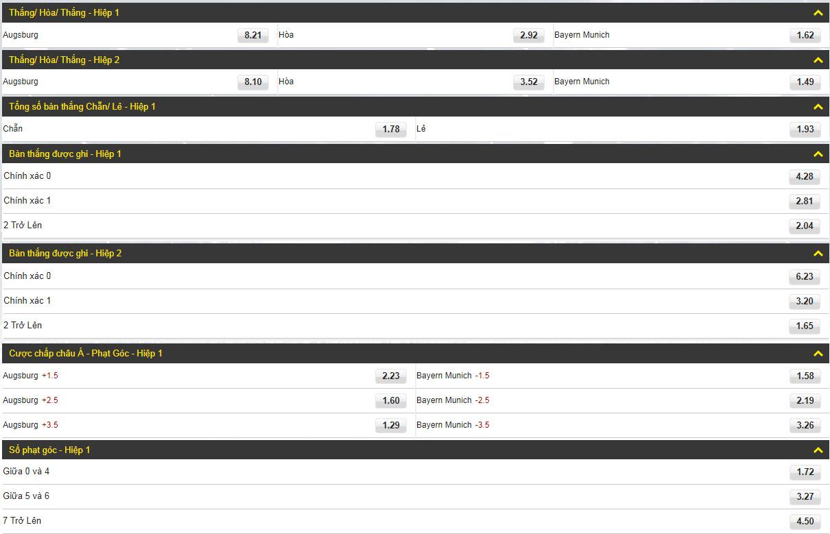 Augsburg vs Bayern Munich (cược theo hiệp)