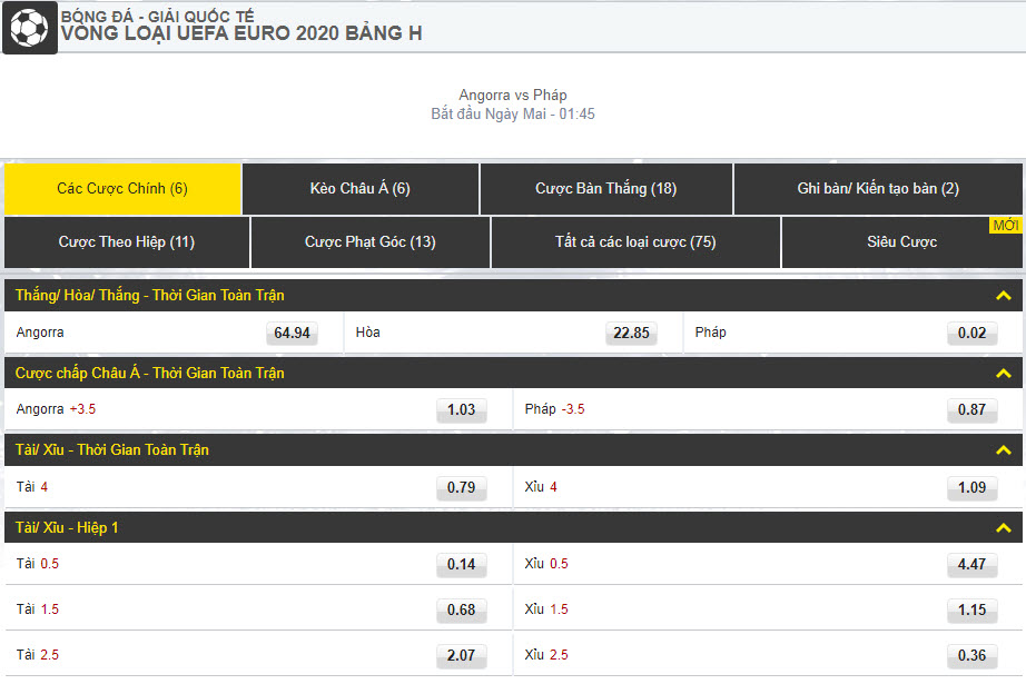 Dafabetlinks-keo-bong-da- uefa-euro-2020-vong-loai - Angorra vs Pháp - cược chính