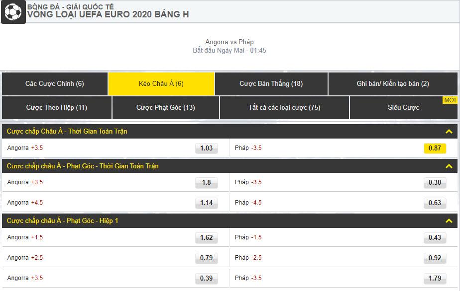 Dafabetlinks-keo-bong-da- uefa-euro-2020-vong-loai - Angorra vs Pháp - kèo châu á