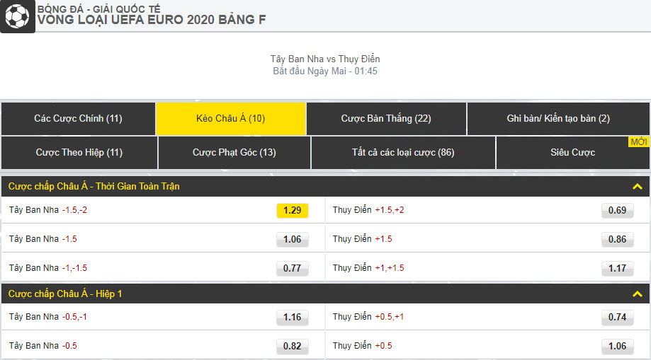 Dafabetlinks-keo-bong-da- uefa-euro-2020-vong-loai - Tây Ban Nha vs Thụy Điển - kèo châu á