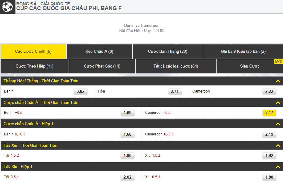Kèo bóng đá Dafabet Benin vs Cameroon - Can Cup - cược chính