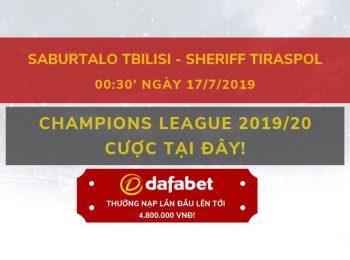 Tỷ lệ bóng đá Saburtalo Tbilisi vs Sheriff Tiraspol: Nhà cái Dafabet ngày 17/07