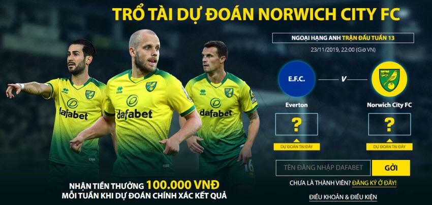 Dafabet thưởng 100k dự đoán các trận đấu của Norwich City